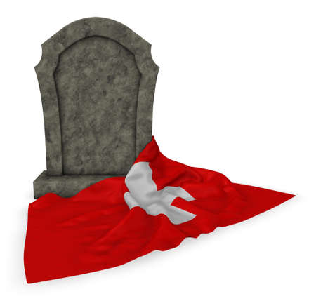 gravestone and flag of switzerland - 3d rendering
