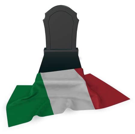 gravestone and flag of italy - 3d rendering