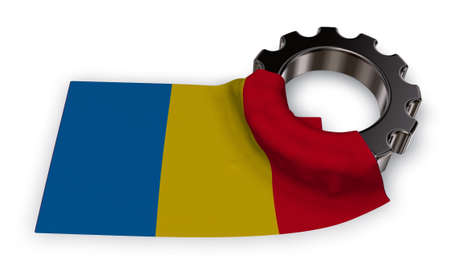 gear wheel and flag romania - 3d rendering
