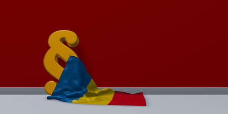 paragraph symbol and flag of romania - 3d rendering