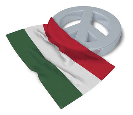 antiwar: peace symbol and flag of hungary - 3d rendering Stock Photo