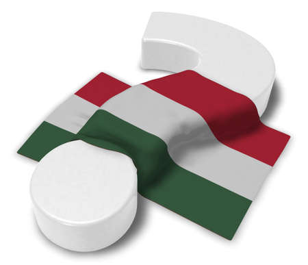 question mark and flag of hungary - 3d illustration