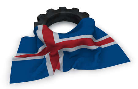 gear wheel and flag of iceland - 3d rendering