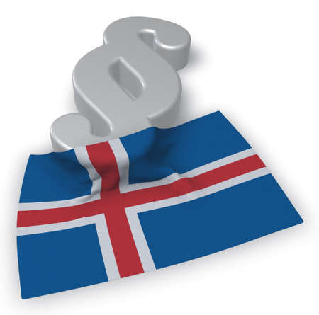 paragraph symbol and flag of iceland - 3d rendering