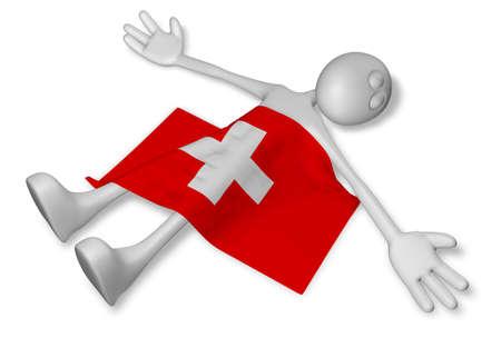 dead cartoon guy and flag of switzerland - 3d illustration