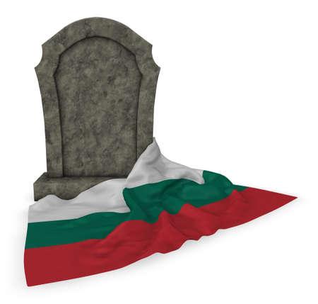 gravestone and flag of bulgaria - 3d rendering