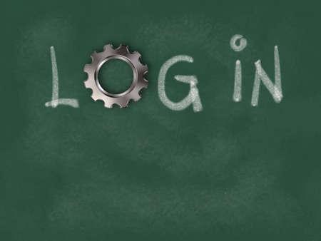 the word login with gear wheel on chalkboard - 3d illustration