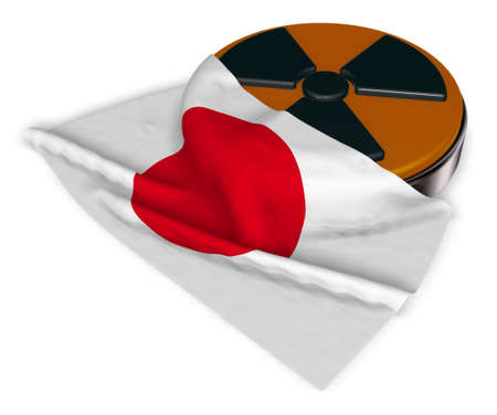 yellow beware: nuclear symbol and flag of japan on white background - 3d illustration Stock Photo