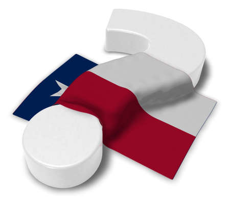 question mark and flag of texas - 3d illustration