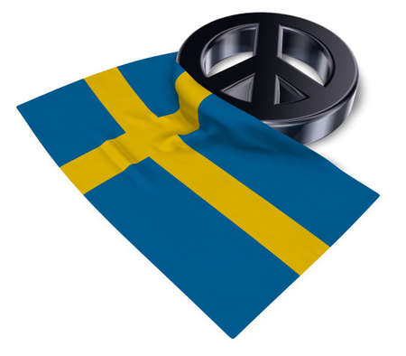peace symbol and flag of sweden - 3d rendering