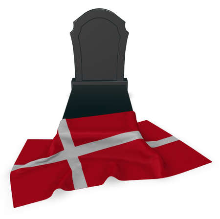 undertaker: gravestone and flag of denmark - 3d rendering