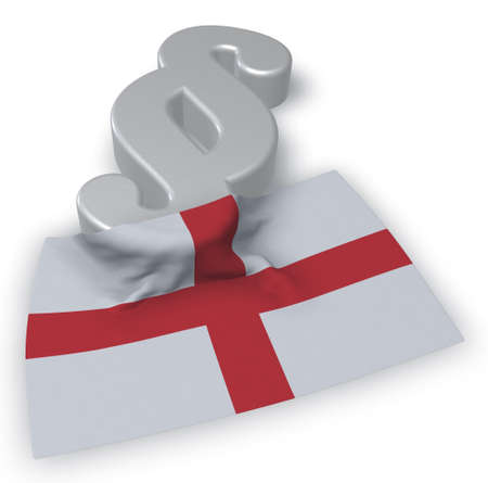 paragraph symbol and flag of england - 3d rendering