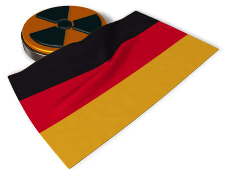 disaster: nuclear symbol and flag of germany on white background - 3d illustration