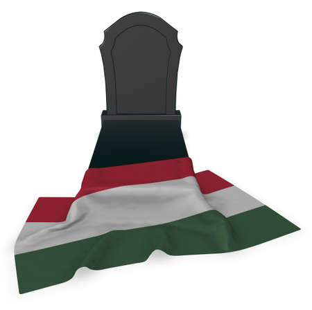 european culture: gravestone and flag of hungary - 3d rendering Stock Photo
