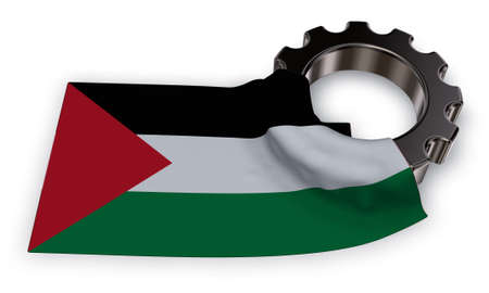 gear wheel and flag of Palestine - 3d rendering Stock Photo