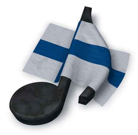 music note symbol and flag of finland - 3d rendering Stock Photo