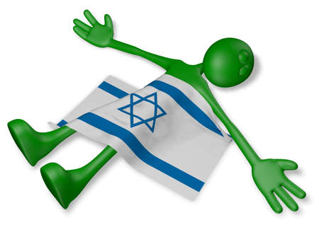 dead cartoon guy and flag of israel - 3d illustration