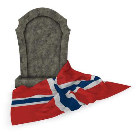墓石とノルウェーの国旗 - 3 d レンダリング