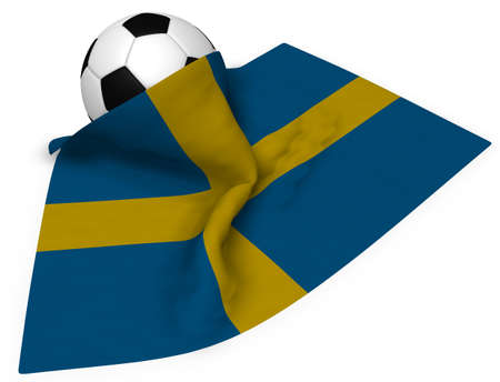 soccer ball and flag of sweden - 3d rendering