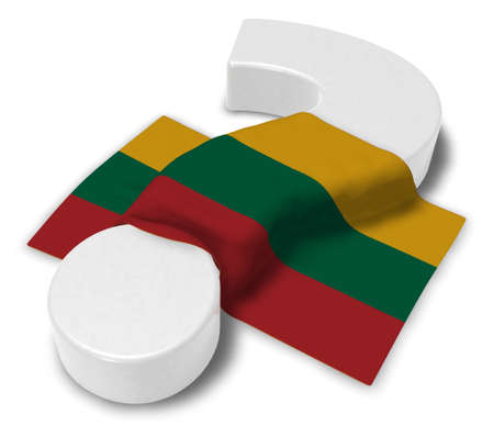question mark and flag of Lithuania - 3d illustration Stock Photo