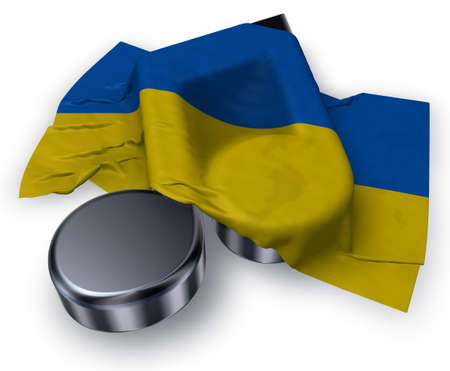 music note symbol and flag of the ukraine - 3d rendering Stock Photo