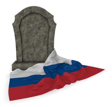 undertaker: gravestone and flag of russia - 3d rendering