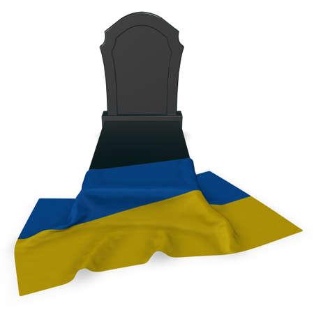 gravestone and flag of the ukraine - 3d rendering