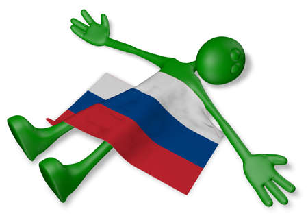 burn out: dead cartoon guy and flag of russia - 3d illustration