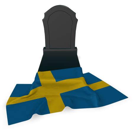 墓石とスウェーデンの国旗 - 3 d レンダリング