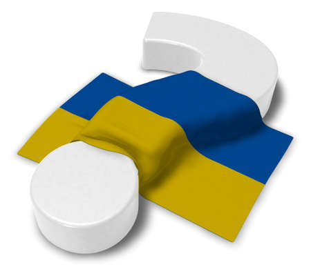 question mark and flag of ukraine - 3d illustration