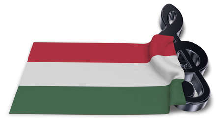 clef symbol symbol and hungarian flag - 3d rendering Stock Photo