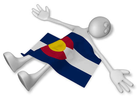 burn out: dead cartoon guy and flag of colorado - 3d illustration