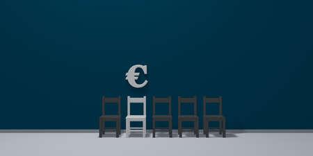 Euro symbool en rij stoelen Stockfoto