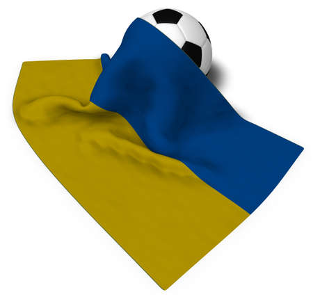 country: soccer ball and flag of the ukraine - 3d rendering