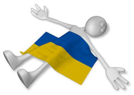 dead cartoon guy and flag of the ukraine - 3d illustration