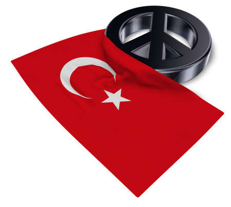 peace symbol and flag of turkey - 3d rendering