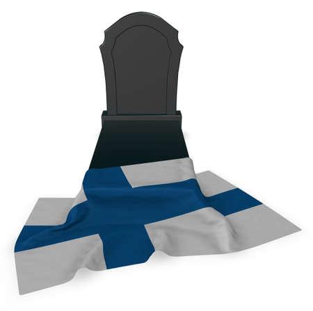 墓石とフィンランドの旗、3 d レンダリング 写真素材