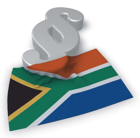 paragraph symbol and flag of south africa - 3d rendering