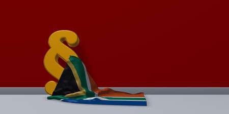 Absatz-Symbol und Flagge von Südafrika - 3D-Rendering Standard-Bild - 80835916