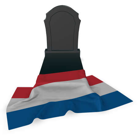 burial: gravestone and flag of the netherlands - 3d rendering