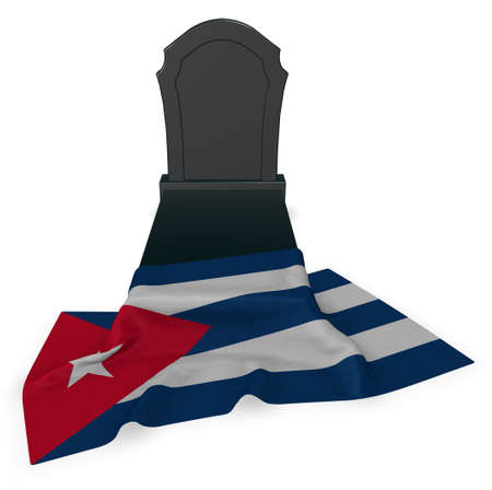 gravestone and flag of cuba - 3d rendering Stock Photo