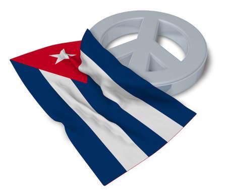 antiwar: peace symbol and flag of cuba - 3d rendering Stock Photo