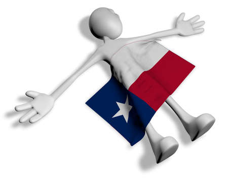 cartoon guy and flag of texas - 3d illustration Banco de Imagens