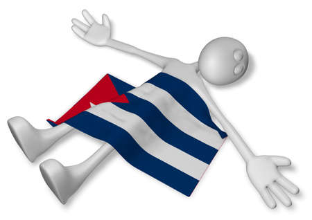 burn out: cartoon guy and flag of cuba - 3d illustration