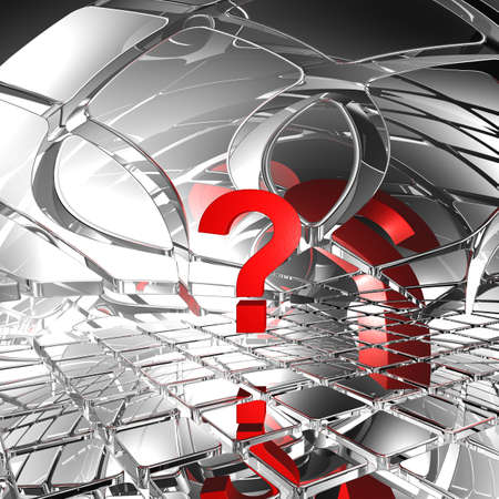 question mark in abstract futuristic space - 3d illustration
