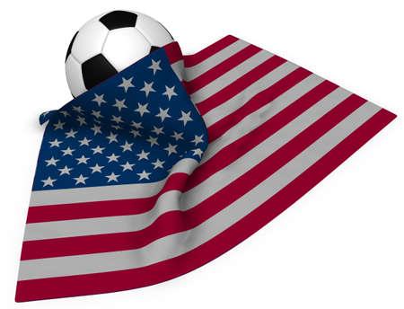 サッカー ボールと米国の 3 d レンダリングの旗 写真素材
