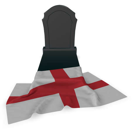 gravestone and flag of england - 3d rendering
