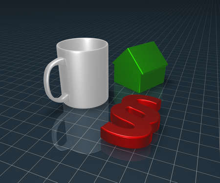 paragraph symbol, mug and house model - 3d rendering Stock Photo