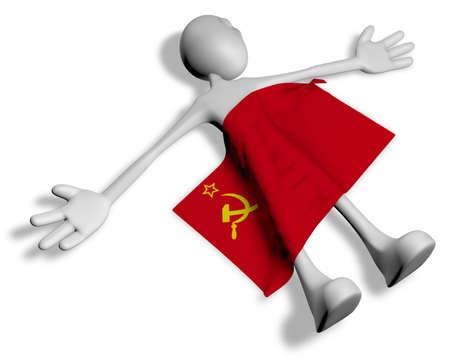 dead cartoon guy and flag of the soviet union - 3d illustration
