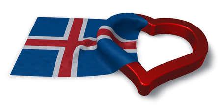 the icelandic flag: icelandic flag and heart symbol - 3d rendering Stock Photo